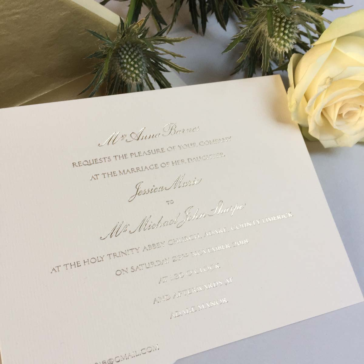 Barnes Gold Wedding Invitations