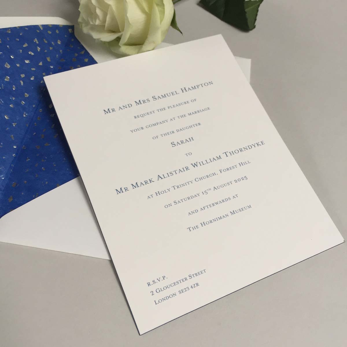 Bevel Blue Wedding Invitations