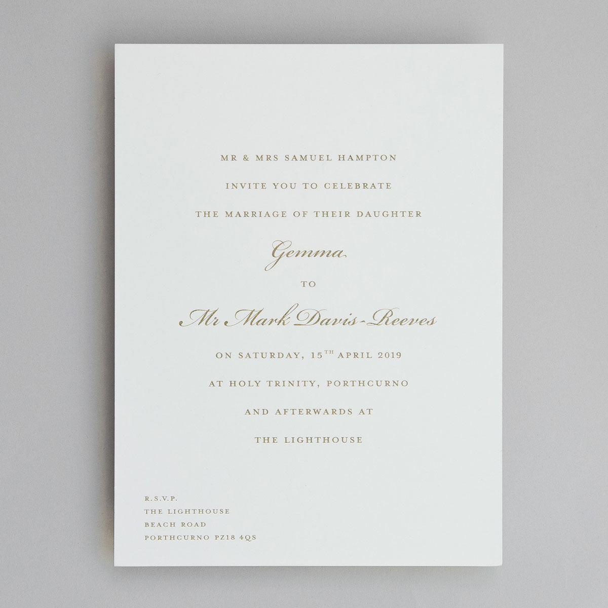 Bickham Gold Wedding Invitations