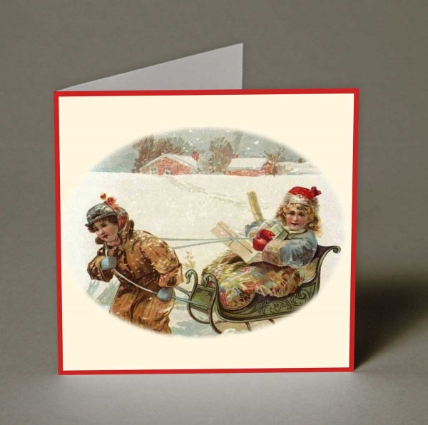 Bringing Home the Presents Christmas Cards