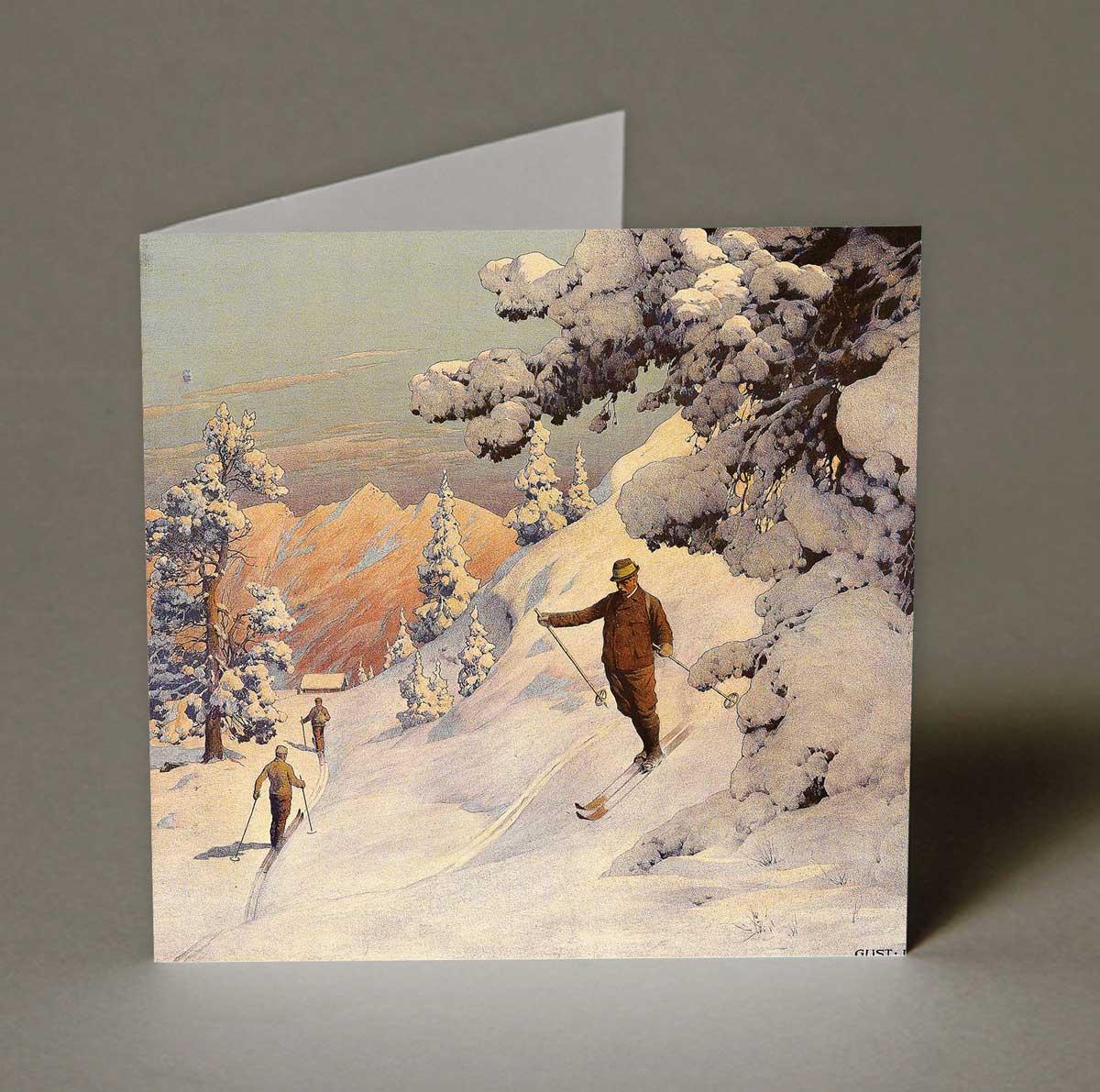 Edwardian Skiers Christmas Cards