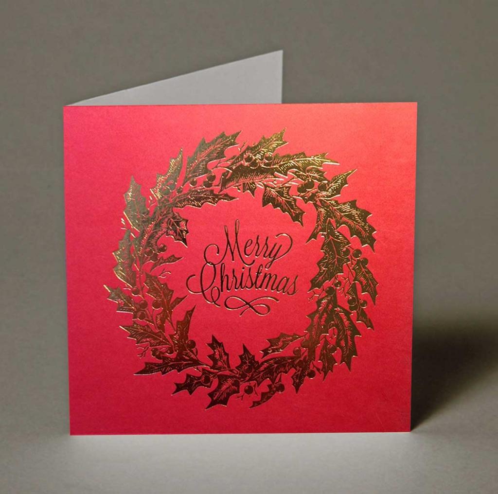 Foiled Wreath Christmas Cards   Wedding Invitations, Wedding ...