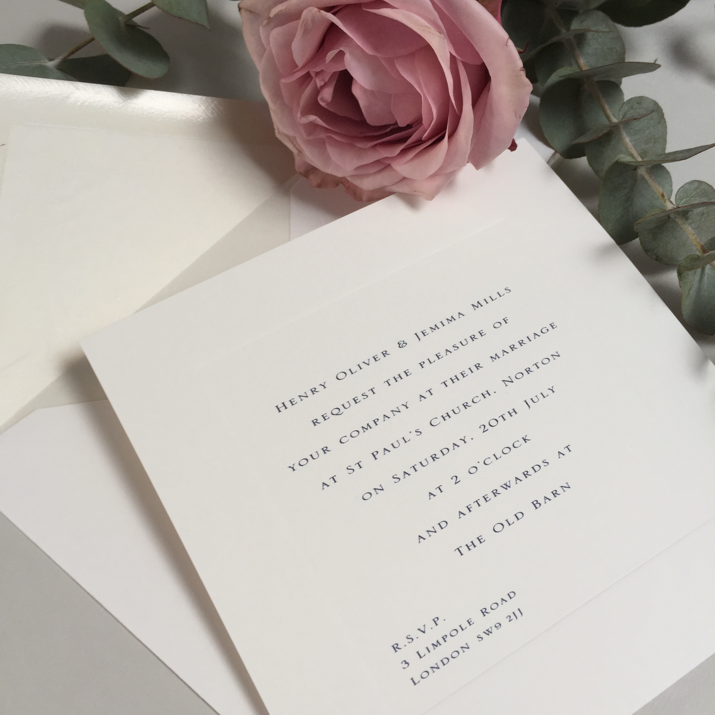 Gee Square wedding invitation