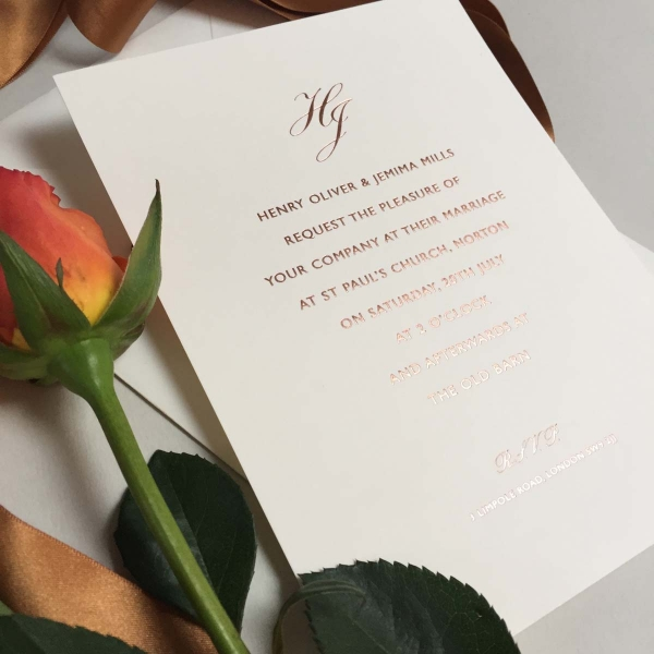 Ivory rose wedding invitations