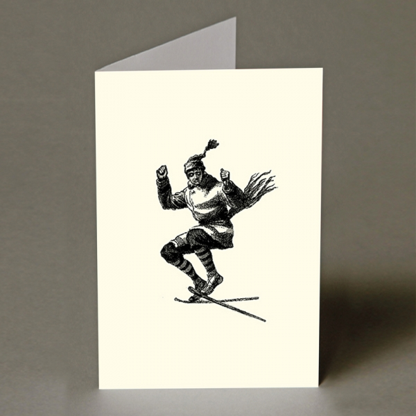 Jumping Skier Christmas Card