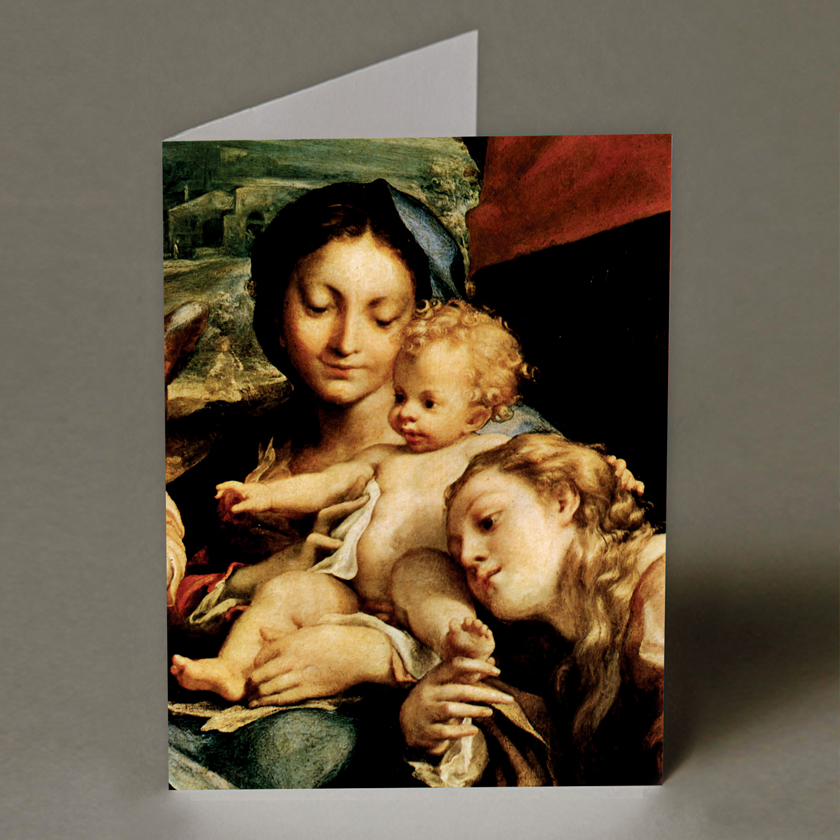 Madonna and Child with Angel Christmas Card