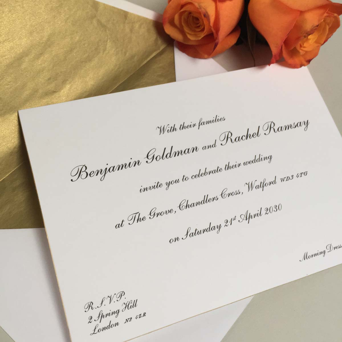 Shelley gold wedding invitations