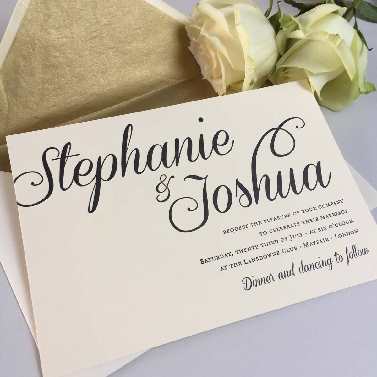 Stephanie black wedding invitations