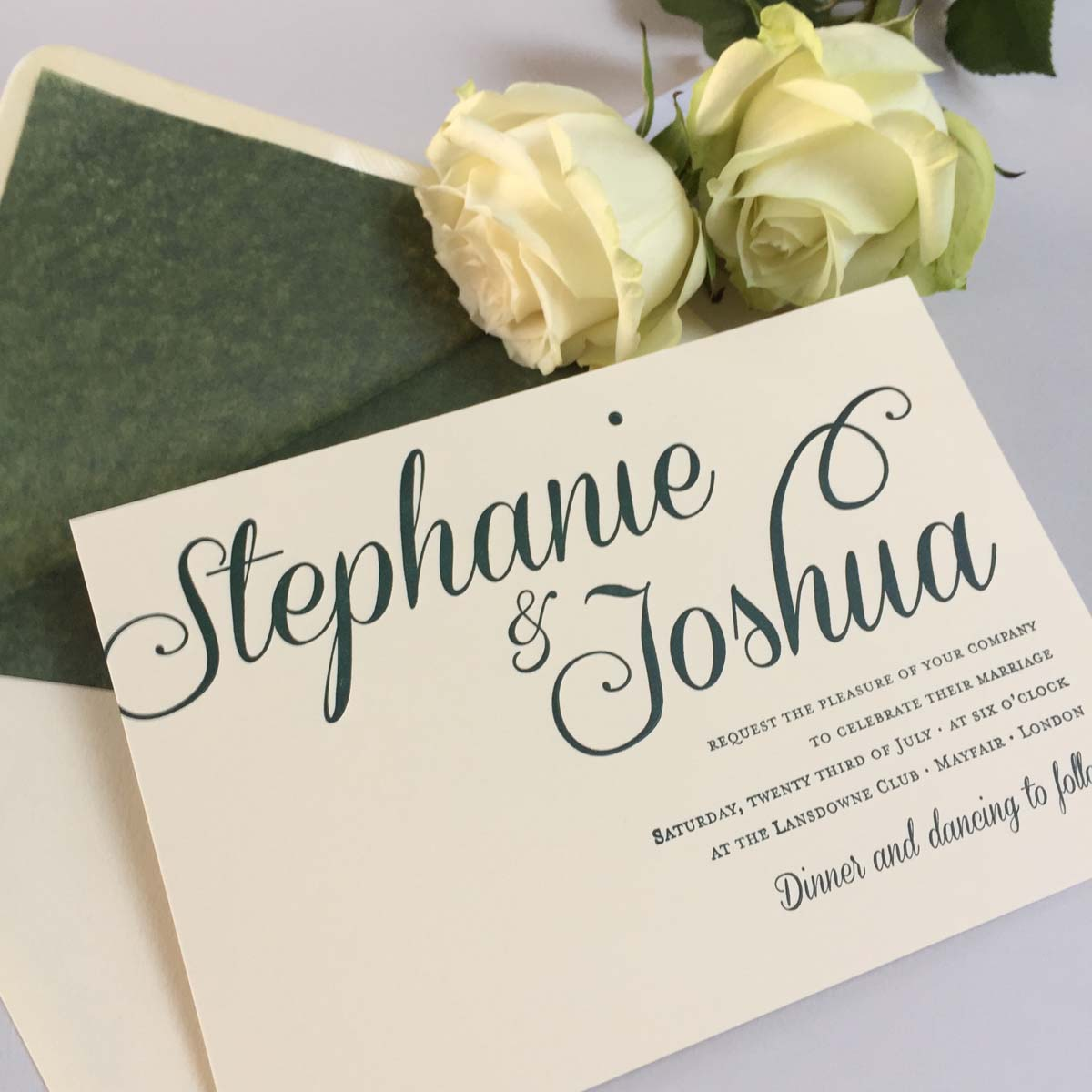 Stephanie green wedding invitations