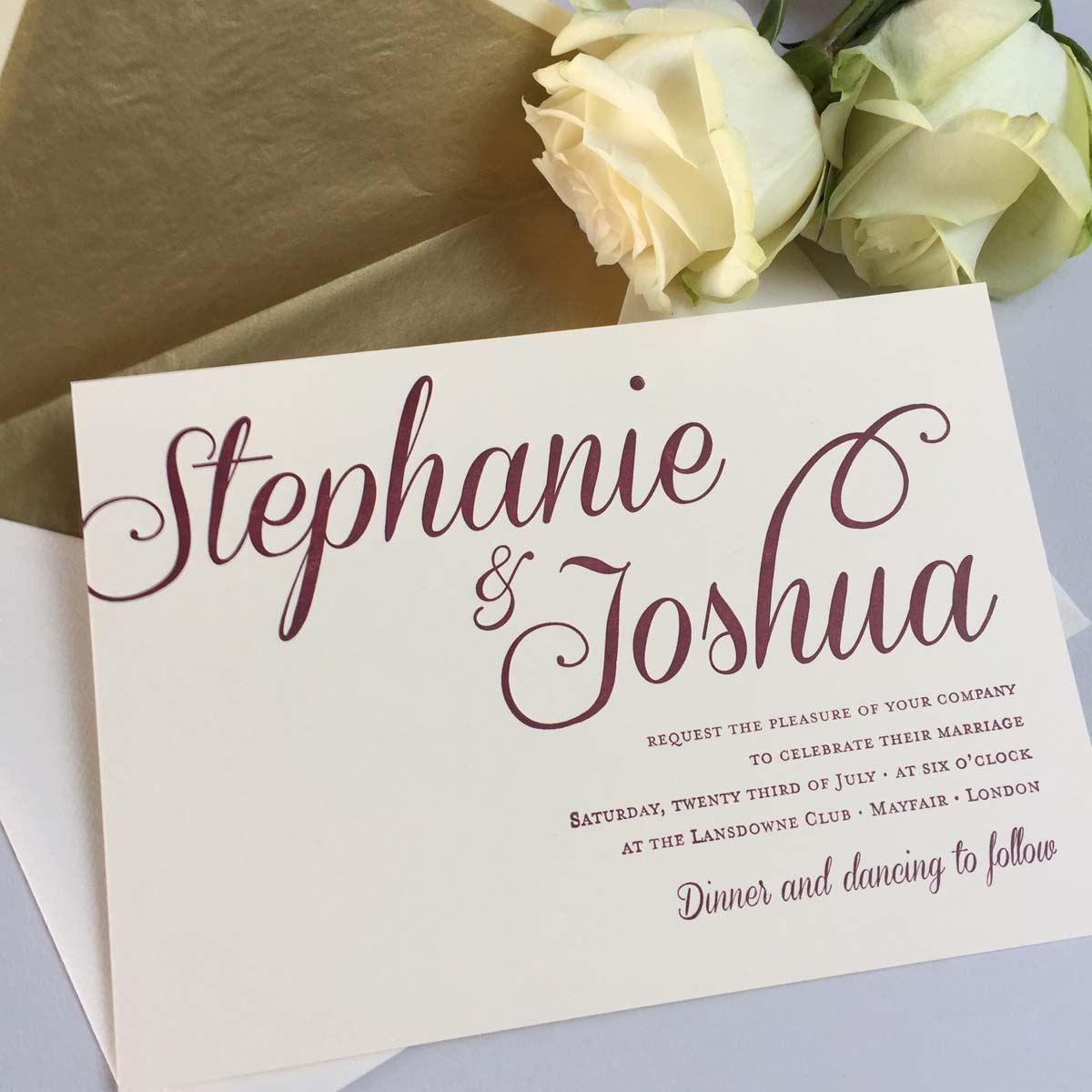 Stephanie red wedding invitations