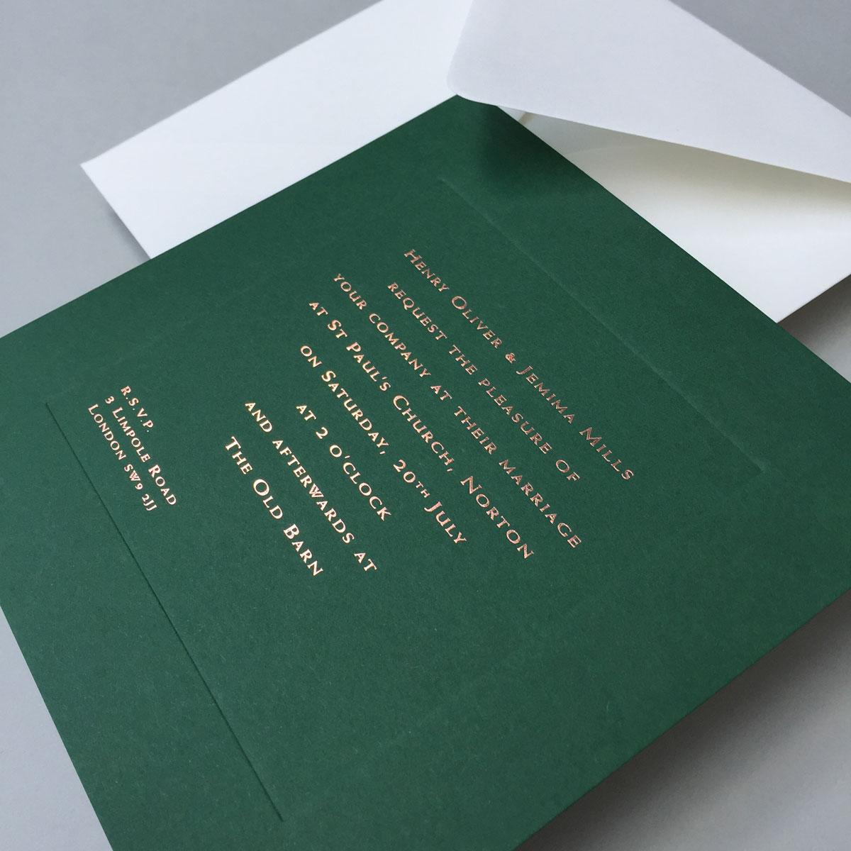 Racing Green Wedding Invitations