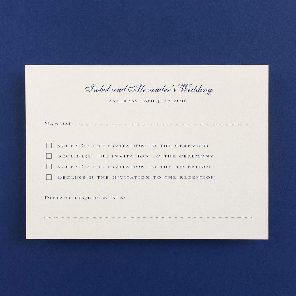 Royal Reply Cards - Wedding Stationery