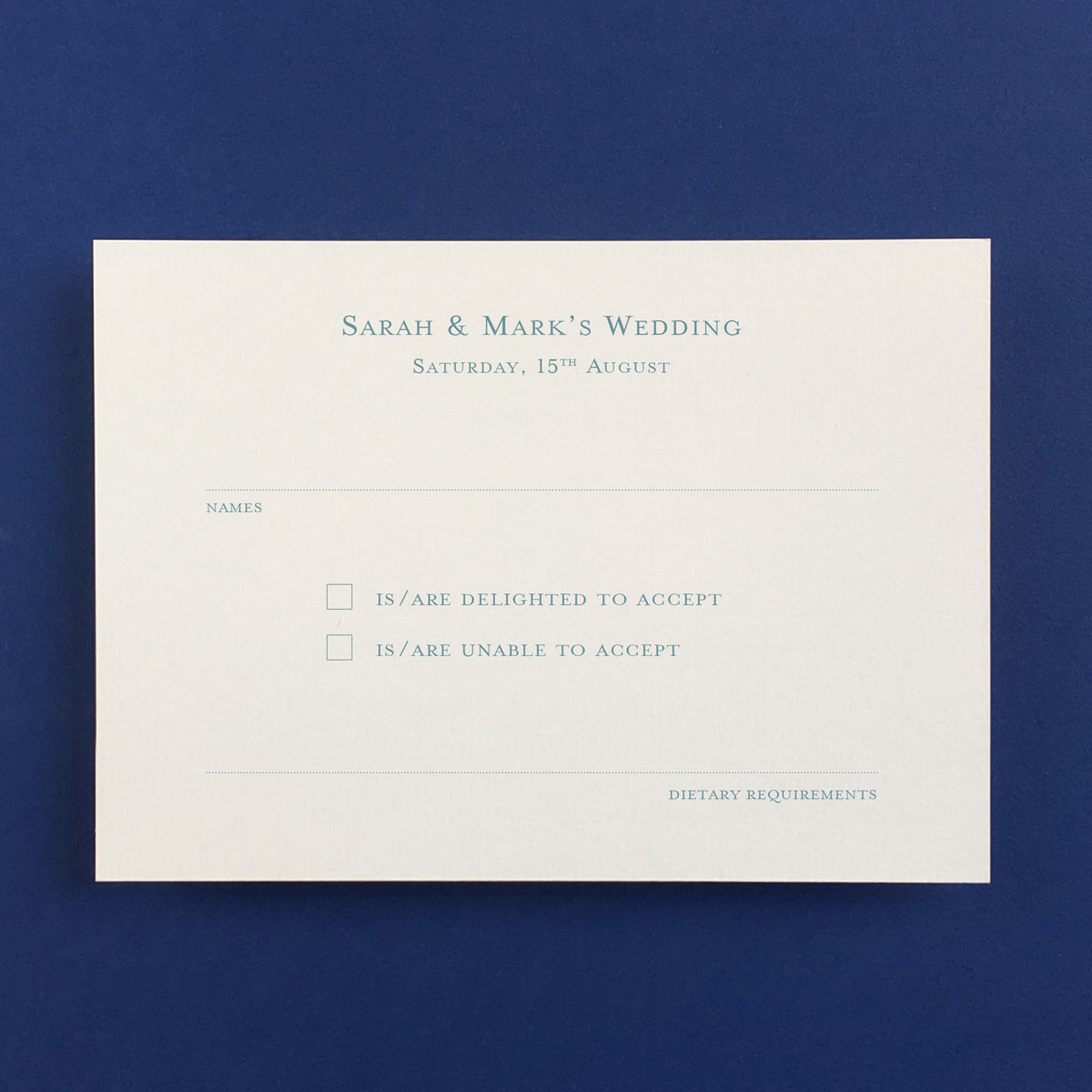 Bevel Blue Reply Cards - Wedding Stationery