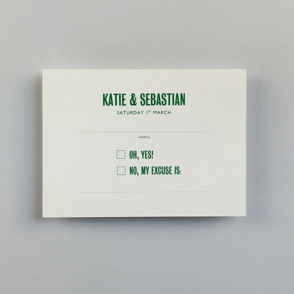 Katie Green Reply Cards - Wedding Stationery