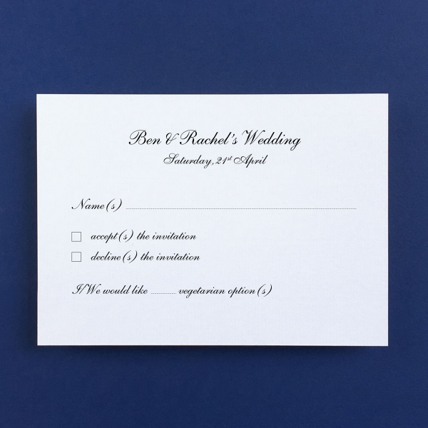 Shelley Gold Reply Cards - Wedding Stationery