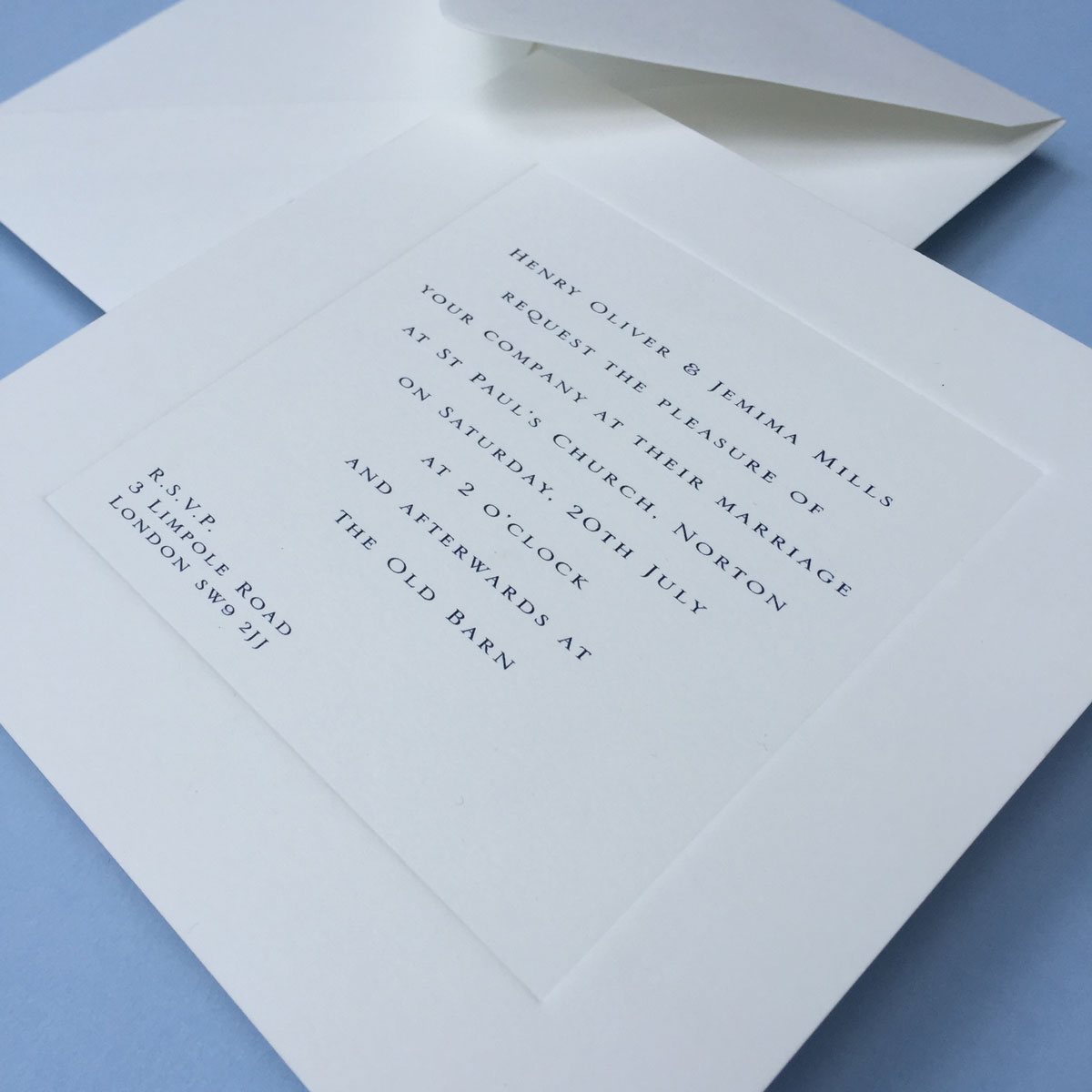 Gee Square Wedding Invitations Close-Up