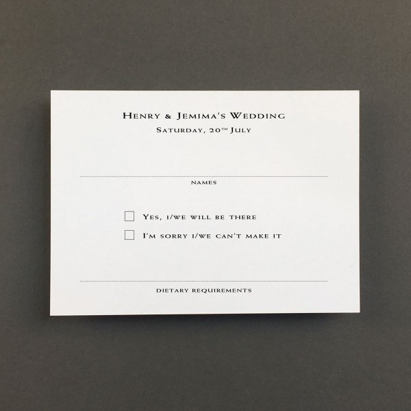 Racing Green Reply Cards - Wedding Stationery