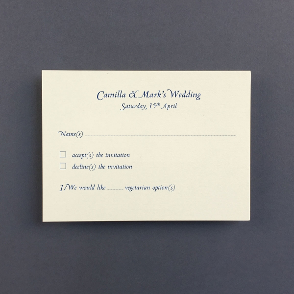 Camilla Reply Cards - Wedding Stationery