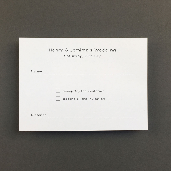 Cool Blue Reply Cards - Wedding Stationery