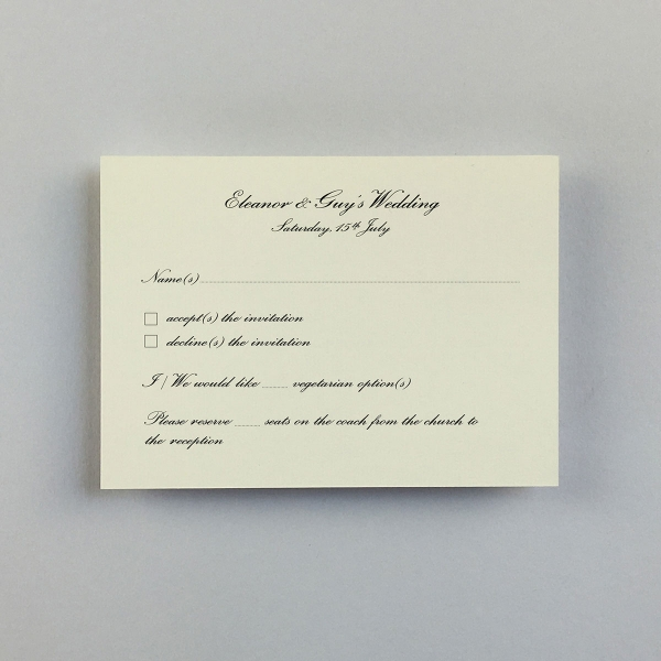 Wilberforce Traditional Reply Cards - Wedding Stationery.