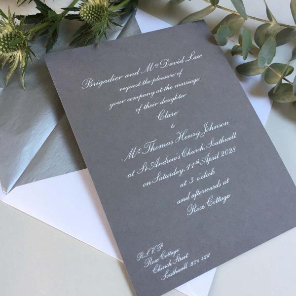 White smoke wedding invitations