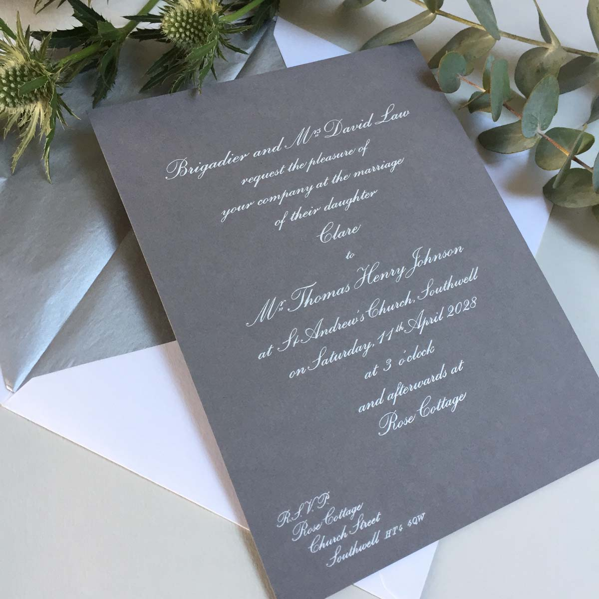 White smoke wedding invitations
