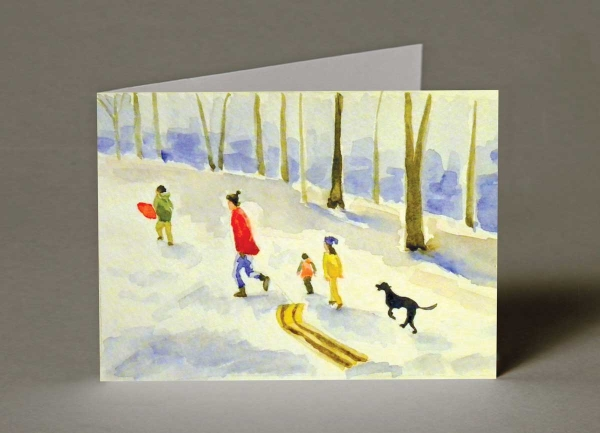 Winter Sledging Christmas Cards