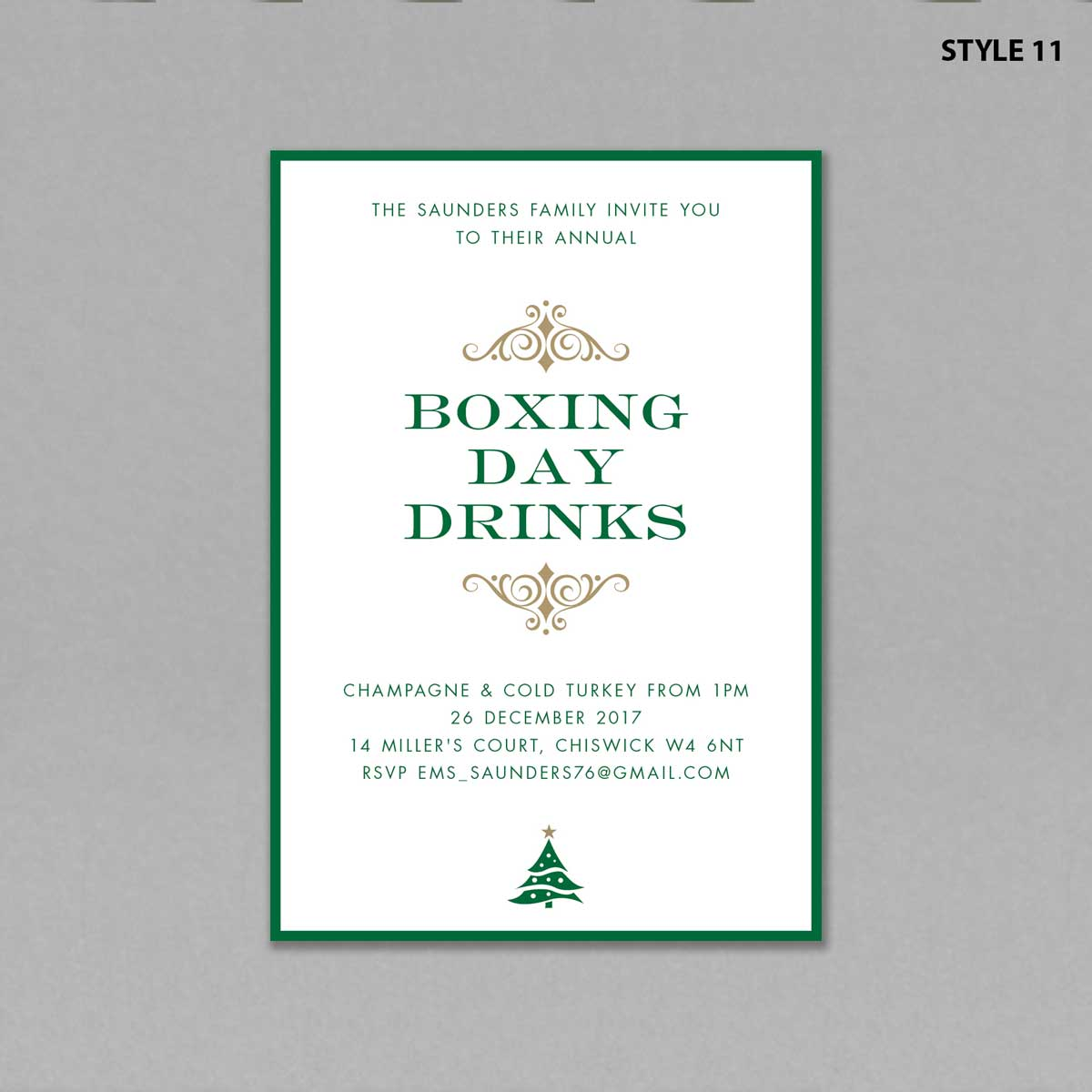 Christmas Invitations Style 11 Boxing Day Drinks