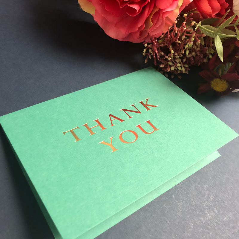 Foiled thank you cards