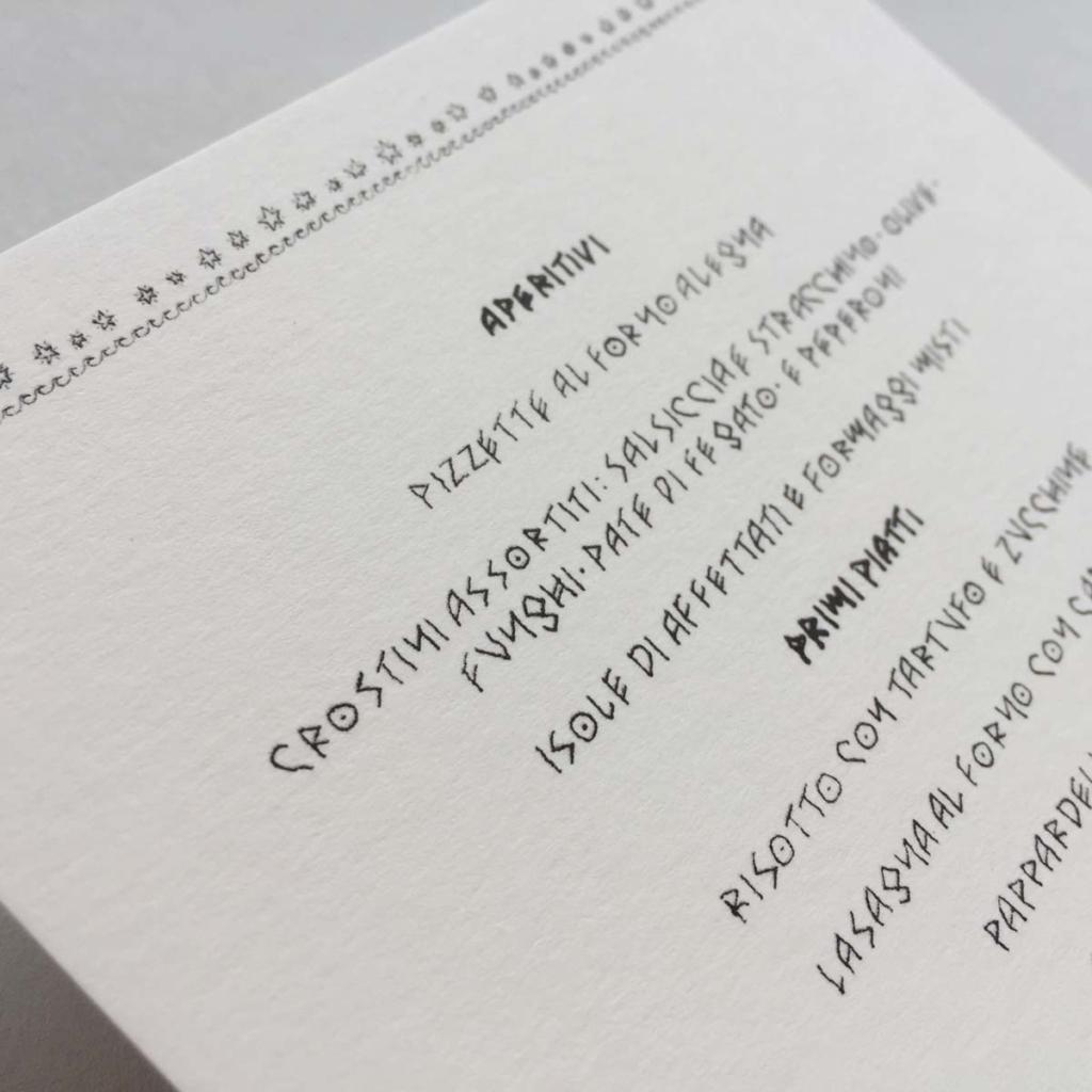 Destination wedding menu