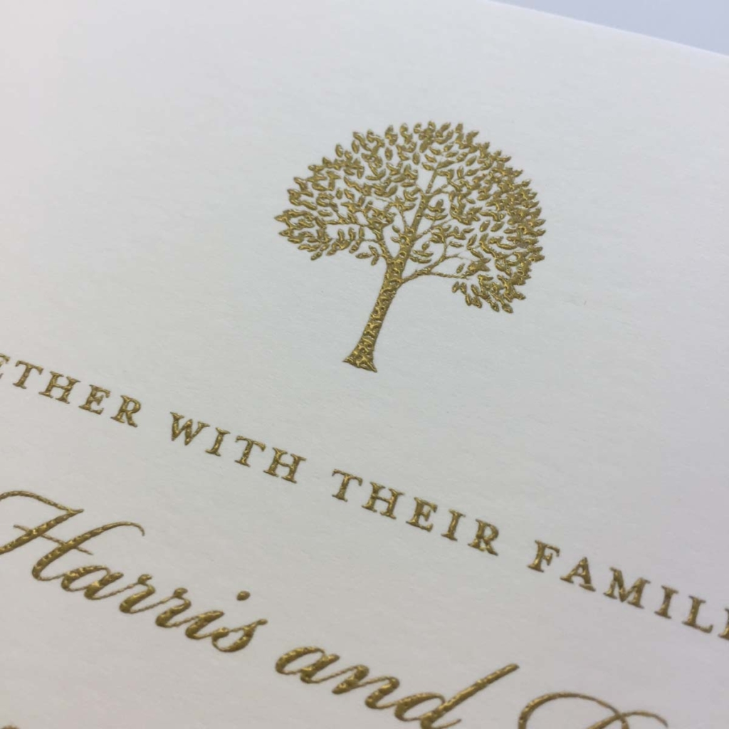 Gold foil tree motif invitation
