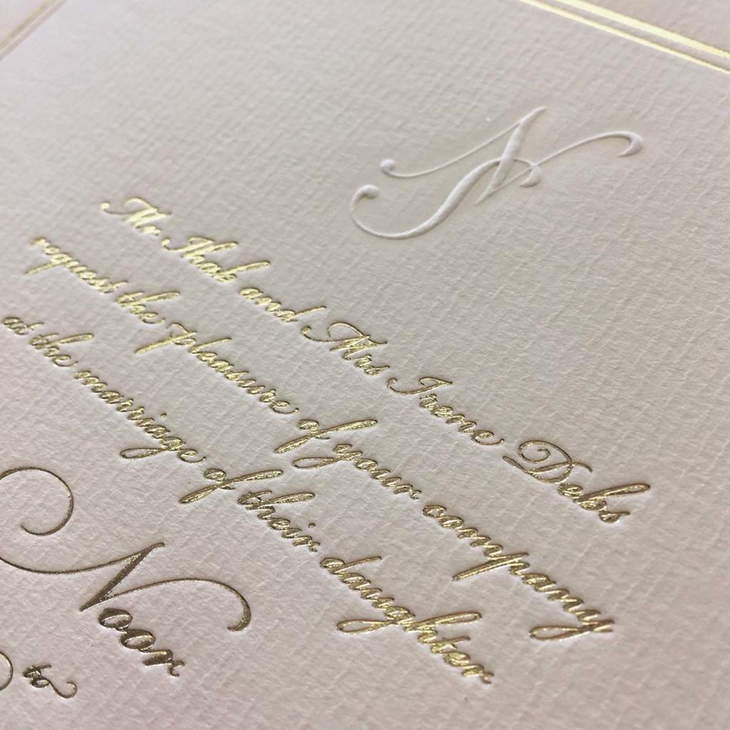 Blind Embossed wedding invitation