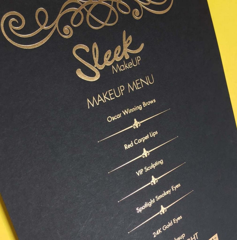 sleek menu gold foil