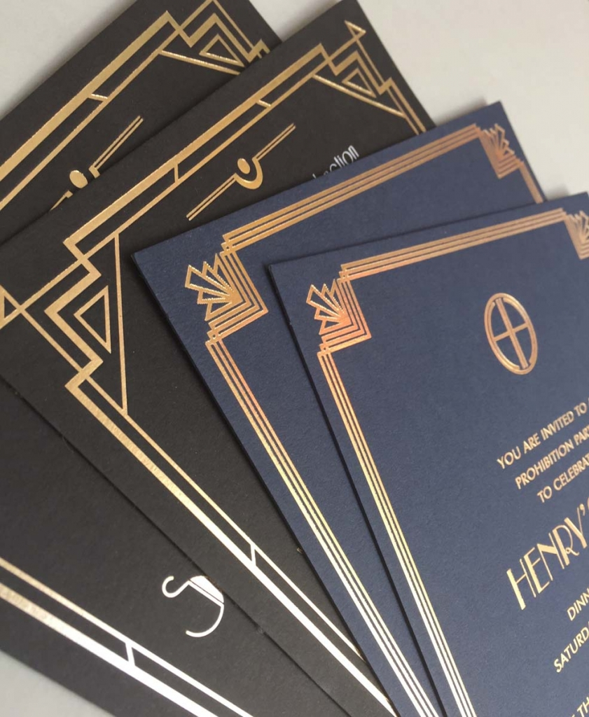 art deco invitations x 2
