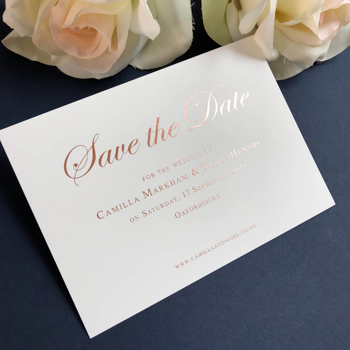 Camilla Rose Gold Save the Date card