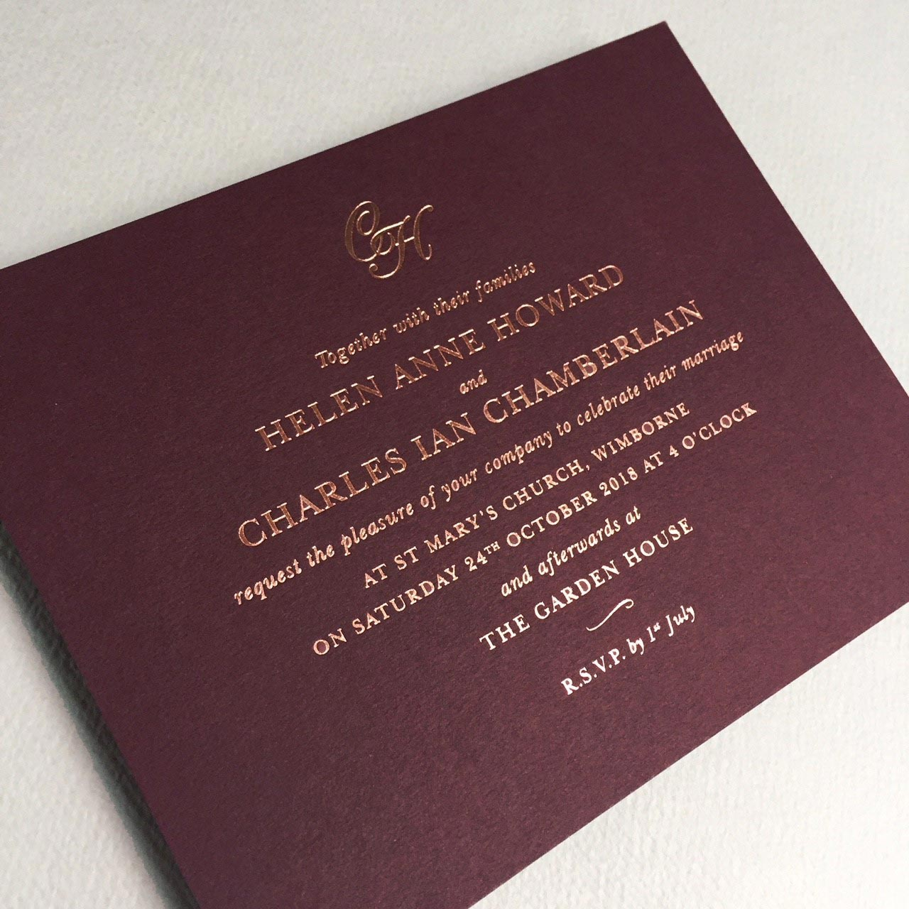 Claret Wedding Invitations, Wedding Stationery | GeeBrothers.co.uk