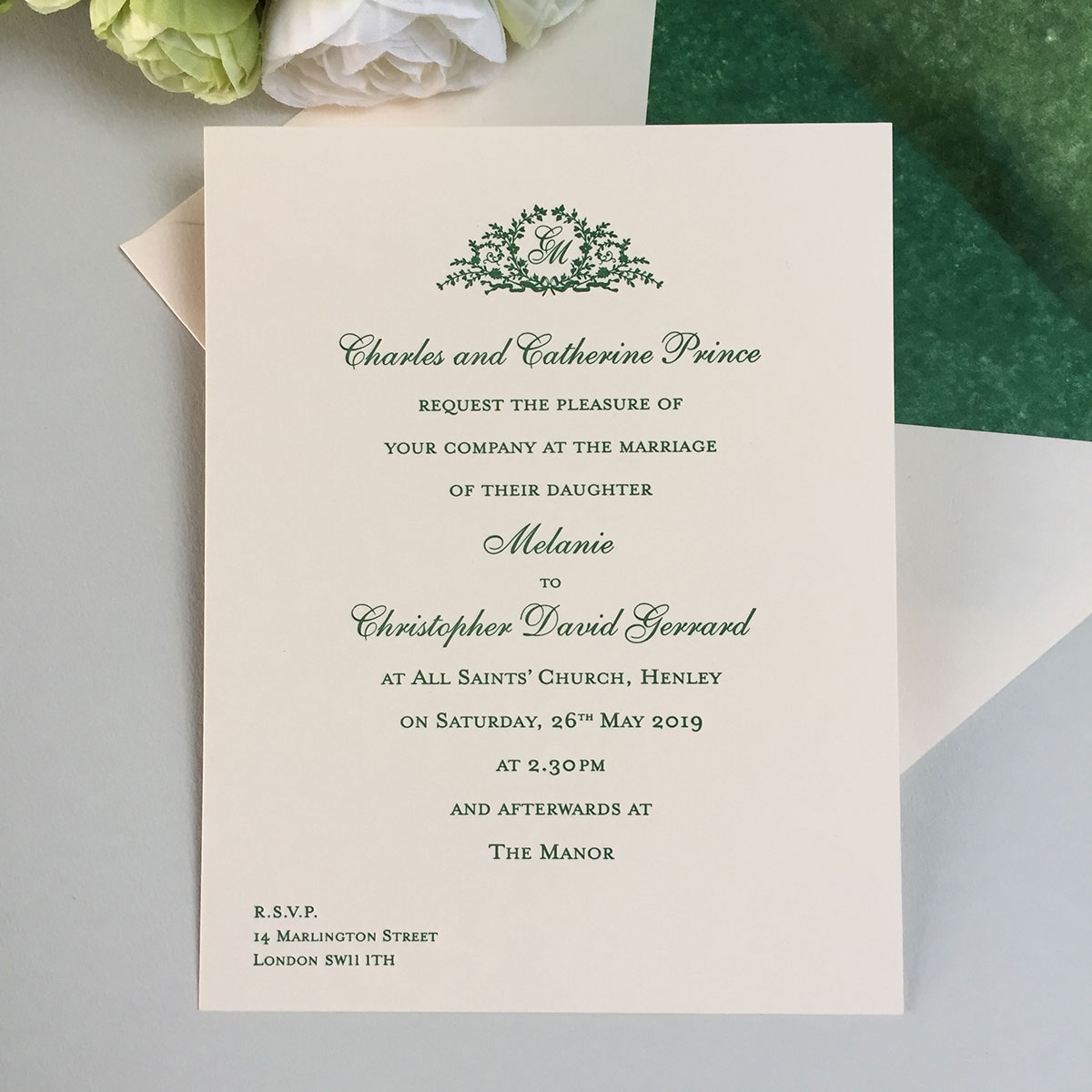 melanie wedding invitation