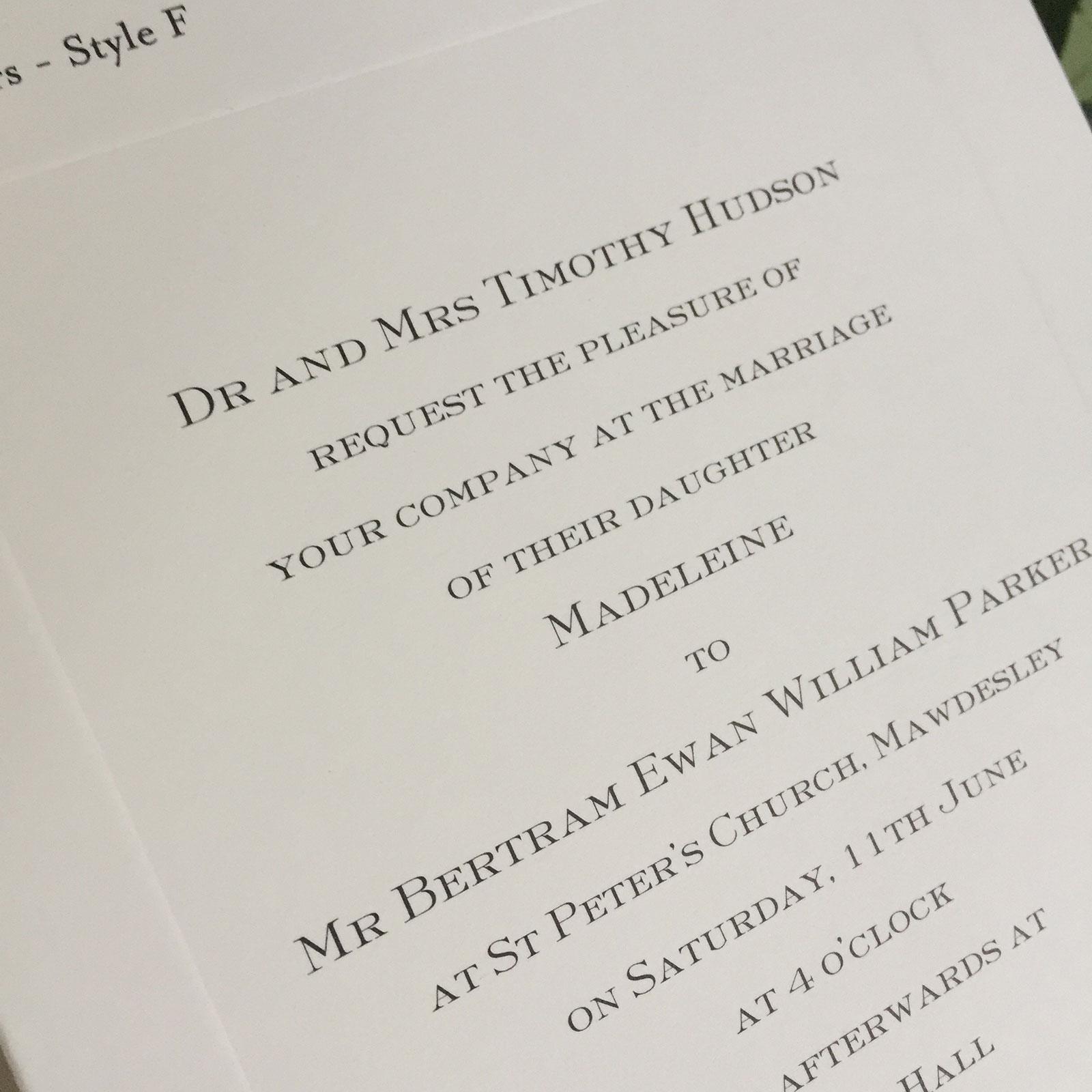 parker wedding invitations