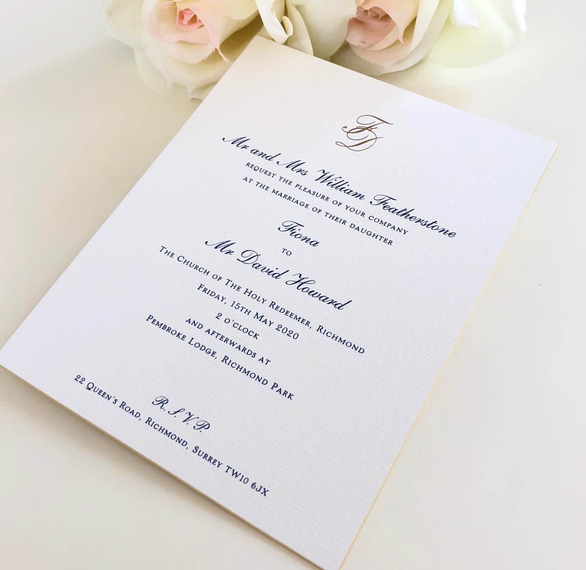 charlwood wedding invitation