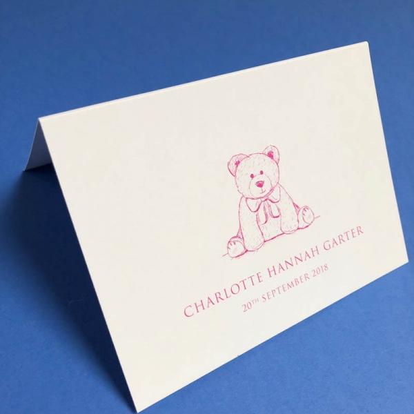Teddy Bear Birth Announcement Pink