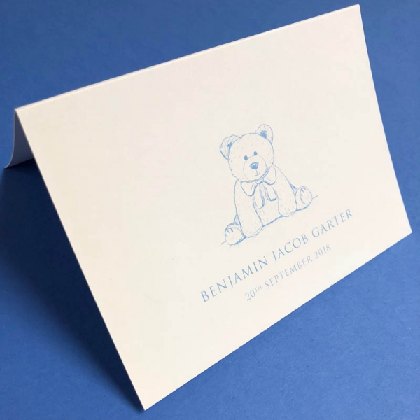 Teddy Bear Birth Announcement Blue