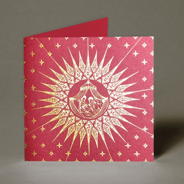 Red & Gold Nativity Christmas Card