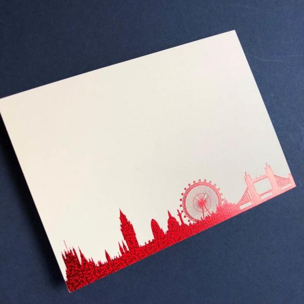 Red London Skyline notecards