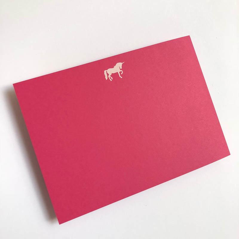 white unicorn notecard