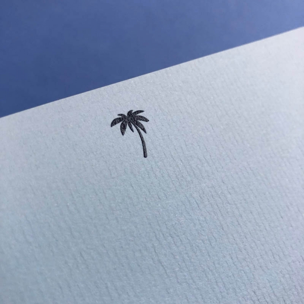 blue notecard palm tree