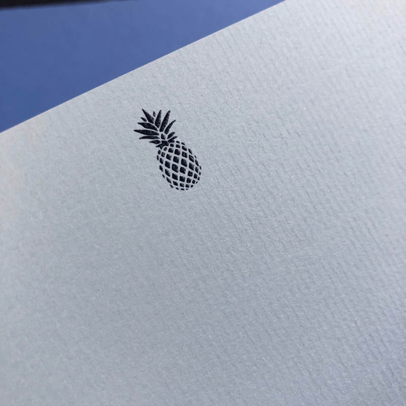 blue notecards pineapple