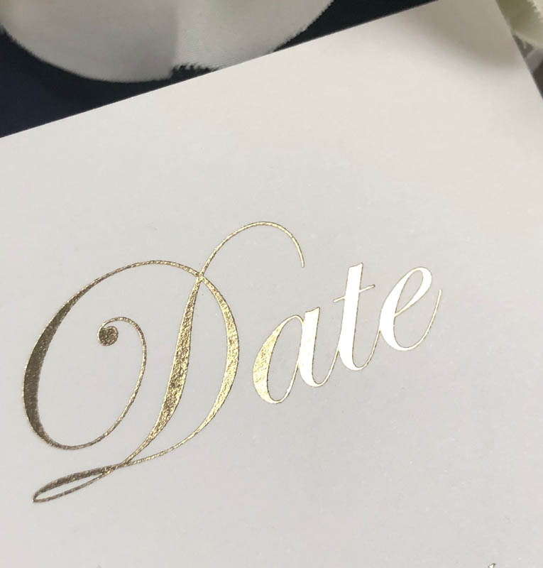 GB Gloss Gold Save the date card