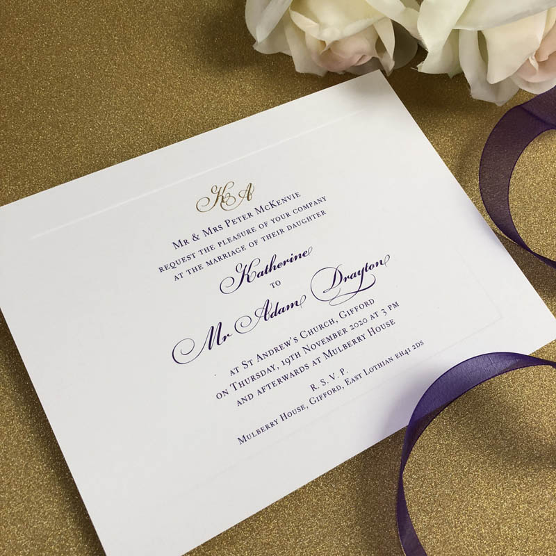 Mulberry wedding invitation