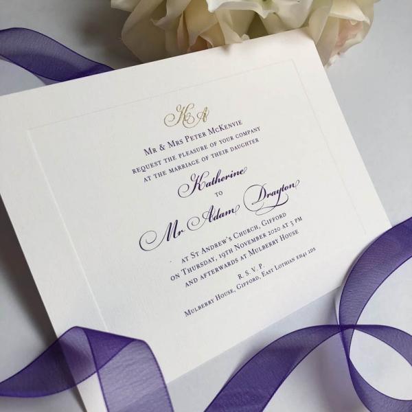 Mulberry wedding invitation