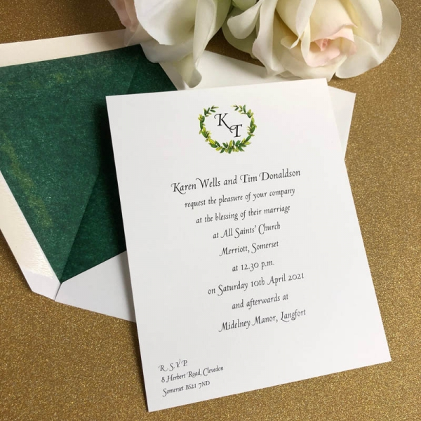 Merriott wedding invitation